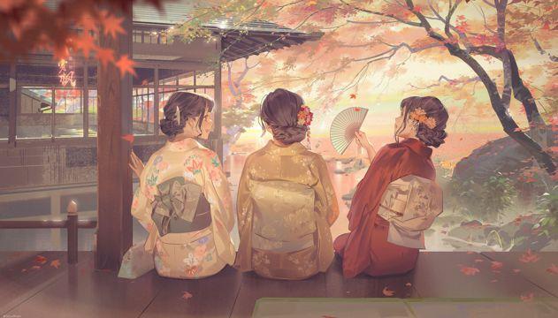 日本女人绘画图片