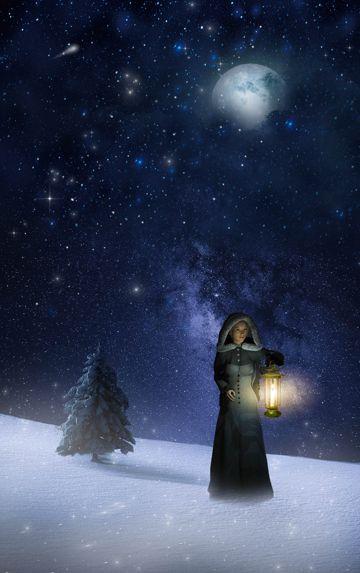 冬日雪地妹子夜空图片