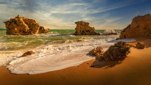 唯美沙滩海浪图片