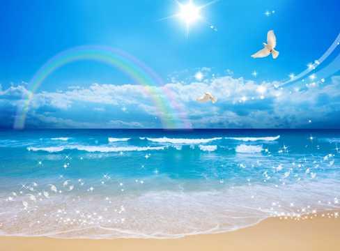 海滨彩虹海滩图片